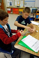 6th Grade Boys Working on Science Project, Wellsville, New York, USA.