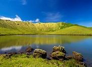 Portugal, Azores, Corvo, Landscape of the Caldeirao do Corvo.