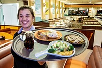 Florida, St. Saint Petersburg, Seminole, Village Inn, restaurant, interior, woman, waitress, server, serving, dinner, tray,