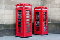 Red telephone box, Manchester, England, United Kingdom.