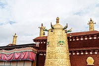Lhasa, Tibet - the view of the Golden Roof of Jokhang Temple, the holy temple in Lhasa in the daytime.