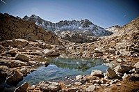 Peaks of Lake at Peguera Valley, Aiguestortes National Park. Pyrenees Mountains. Lleida, Catalonia.