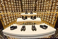 Luxury shoes at Prada shop inside Galleria Vittorio Emanuele II. Milano. Lombardy. Italy.