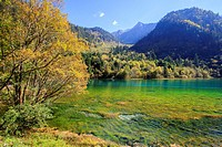 Asia, China, Sichuan province, UNESCO World Heritage Site, Jiuzhaigou National Park, Colorful lake.