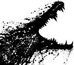 Vector illustration of a grungey crocodile launching an attack