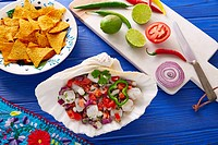 Ceviche Mexican food style recipe with nachos and ingredients.