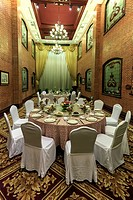 Shanghai, China - March 2, 2017: Dining room inside the Astor House hotel, a famous landmark of Shanghai. This hotel has hosted many celebrities such ...