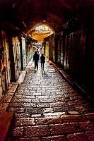 Old Stone Street Jewish Quarter Old City Jerusalem Israel.