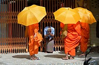 Buddhist monks on their morning alms round,Phnom Penh, Cambodia,Indochina,Southeast Asia,Asia.