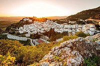 Panoramic at sunset. White village of Casares, Malaga province Costa del Sol. Andalusia Southern Spain, Europe.