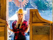 Country-girl attractive beautiful blonde young woman
