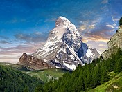 The Matterhorn or Monte Cervino mountain peak, Zermatt, Switzerland.