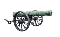 Ancient decorative cast iron Cannon isolated white background.