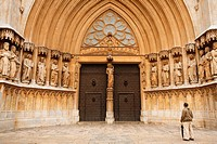 The grand door and facade of Tarragona Cathedral, Catalonia, Spain. The cathedral is situated in the old town of Tarragona at the city's highest point...