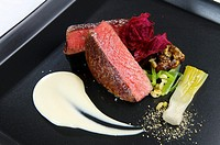 delicious fillet of beef with mixed vegetables.