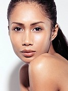 Closeup beauty portrait of an attractive young asian woman beautiful face with healthy natural sensual look.