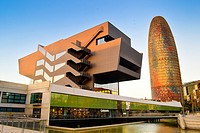 Disseny Hub Barcelona, Design Hub Barcelona, DHUB, made by MBM Arquitectes. Agbar Tower designed by French architect Jean Nouvel . Hotel Silken Diagon...