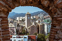 """View of the city of Savona (Italy) from the castle """"""""Priamar""""""""."""
