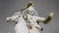 Roman marble sculpture of a warrior on horseback, a 2nd century AD copy from an original 2nd century BC Hellanistic Greek original, inv 6405, Naples M...