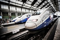 Modern high-speed bullet TGV and regional trains leave Paris from the historic Gare de Lyon station.