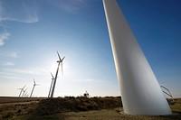 Windmills for electric power production at sunset, Pozuelo de Aragon, Zaragoza, Aragon, Spain.