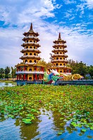 Taiwan, Kaohsiung City, Tsoying District, Lotus Pond, Dragon and Tiger Pagodas