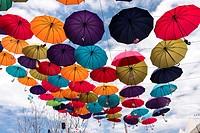 Hanging umbrellas at Rail Park, Korea