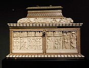 Casket. Made in the Embriachi workshop. Bone and wood, with marquetry. Italy, Venice. About 1390. The Victoria and Albert Museum. London. England. UK....