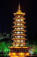 Guilin, China. Sun Pagoda beside Shan Lake at Night.