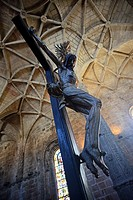 Christ Crucified sculpture in Jeronimos Monastery or Hieronymites Monastery (The Mosteiro dos Jeronimos), a former monastery of the Order of Saint Jer...