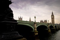 Westminster Bridge - London, at dusk. The bridge provides road and foot links across the river Thames joining north and south London. It is thought to...