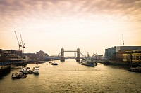 Tower Bridge in London at dusk.