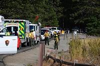 Rescue operation for a fallen climber in Yosemite, California, United States.