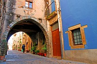 Street with arcade, Anglès, Girona, Catalonia, Spain