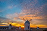 Windmills at sunset. Campo de Criptana, Ciudad Real province, Castilla La Mancha, Spain.