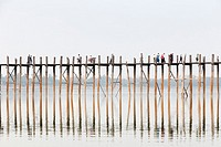 U Bein bridge, Amarapura's Taungmyo lake, Mandalay region, Myanmar.