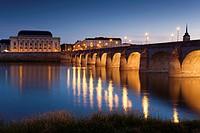 Bridge of Saumur, Pays de la Loire, Maine-et-Loire, France.