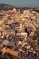 Greece, Cyclades, Santorini, Fira, skyline, general view.