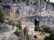 The hermitage of San Bartolomé in the bottom of the Canyon of the Lobos River. Canos de Río Lobos Natural Park. Soria. Castilla y León.