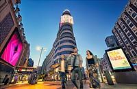 Callao square and Gran Via street at twilight. Madrid, Spain.