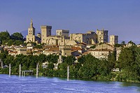 France, Provence region, Avignon city, the Popes Palace , skyline, Rhone river, W. H. ,.