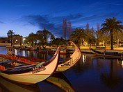 Sunset over the Canal Central with the traditional Moliceiro Boats. Aveiro in Portugal on the coast of the Atlantic. Because of the many channels Avei...