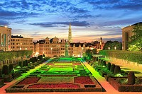 Mont des Arts and City Hall at Sunset, Brussels, Belgium.