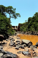 Africa, Ethiopia, Southern Ethopia, Small river and waterfall on the Arba Minch to Sodo road.
