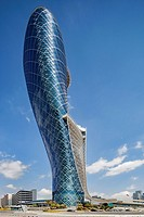 Exterior of the Capital Gate Hotel, designed by the architects RMJM Dubai located in Al Safarat, Abu Dhabi, United Arab Emirates.