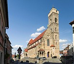 """Church Obere Pfarre in the Old Town at Kaulberg. Bamberg in Franconia, a part of Bavaria. The Old Town is listed as UNESCO World Heritage """"""""Altstadt v..."""