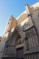 Basilica de Santa Maria del Mar main façade. Barcelona, Catalonia, Spain, Europe.