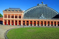 Building of the railway station of Atocha, Madrid, Spain