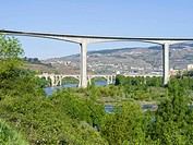 Bridges crossing river Douro near Peso da Regua. The valley of river Douro. It is the wine growing area Alto Douro and listed as UNESCO World heritage...