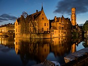 Bruges Belgium Canal at Night.